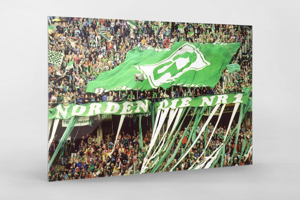 Bremen Fans 1999 als Direktdruck auf Alu-Dibond hinter Acrylglas