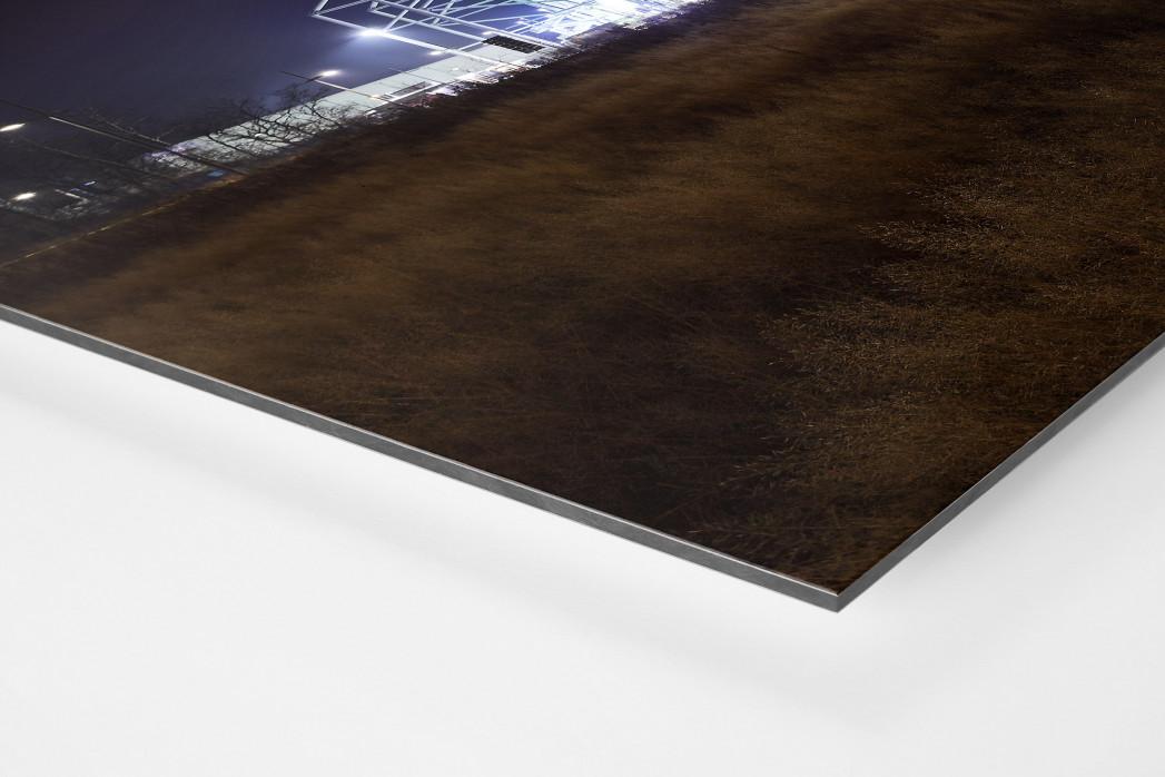 Borussia Park bei Flutlicht (Farbe) als auf Alu-Dibond kaschierter Fotoabzug (Detail)