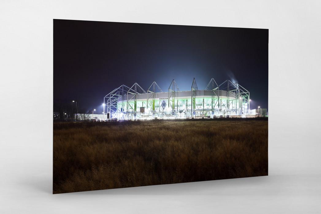 Borussia Park bei Flutlicht (Farbe) als auf Alu-Dibond kaschierter Fotoabzug