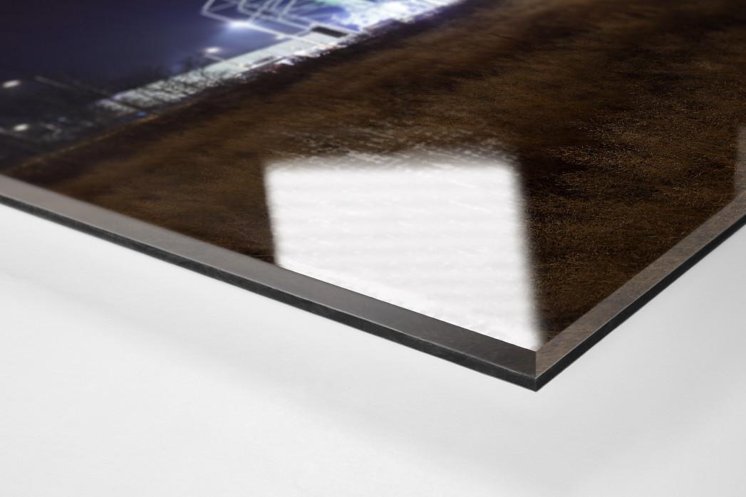 Borussia Park bei Flutlicht (Farbe) als Direktdruck auf Alu-Dibond hinter Acrylglas (Detail)
