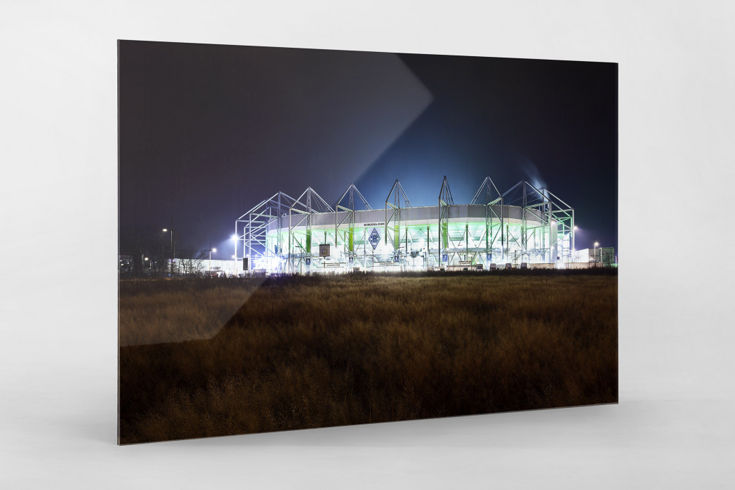 Borussia Park bei Flutlicht (Farbe) als Direktdruck auf Alu-Dibond hinter Acrylglas