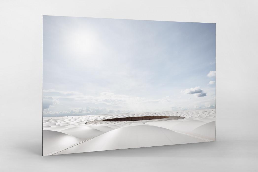Stadiondach und Himmel in Brasília als auf Alu-Dibond kaschierter Fotoabzug