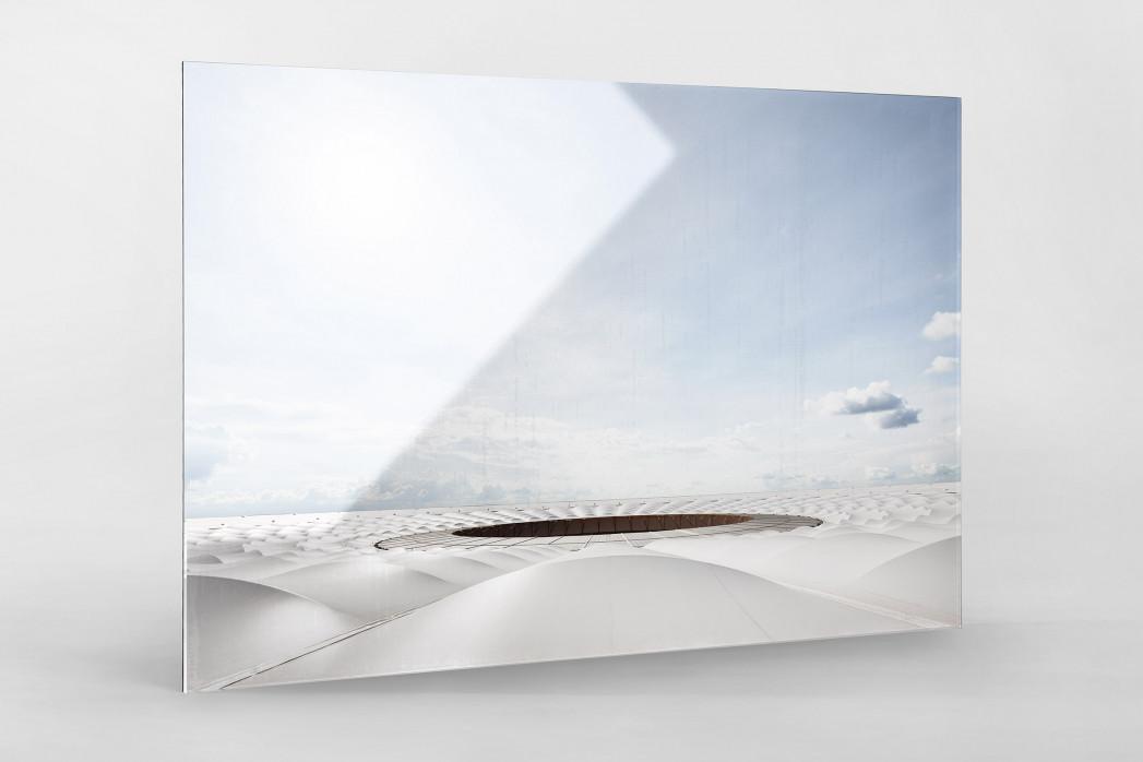 Stadiondach und Himmel in Brasília als Direktdruck auf Alu-Dibond hinter Acrylglas