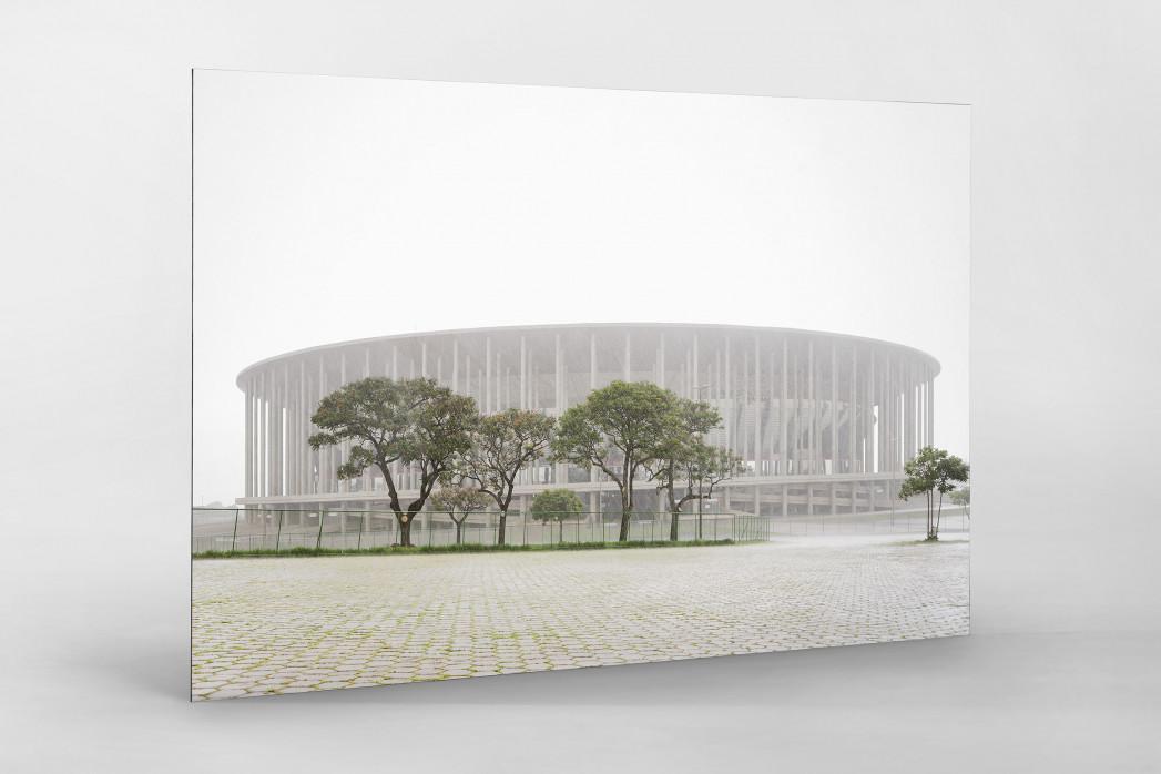 Estádio Nacional de Brasília im Nebel  als auf Alu-Dibond kaschierter Fotoabzug