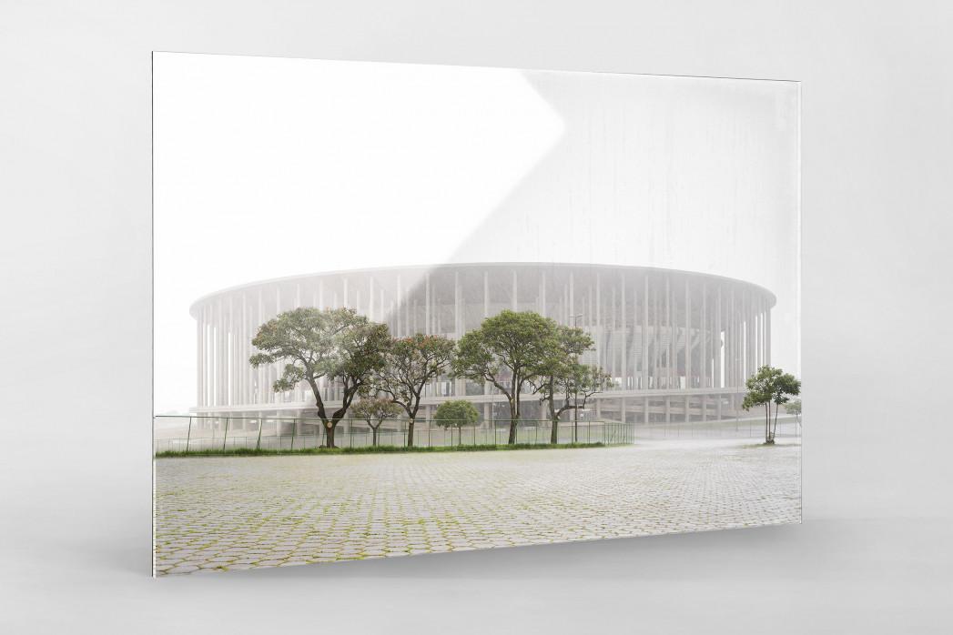 Estádio Nacional de Brasília im Nebel  als Direktdruck auf Alu-Dibond hinter Acrylglas