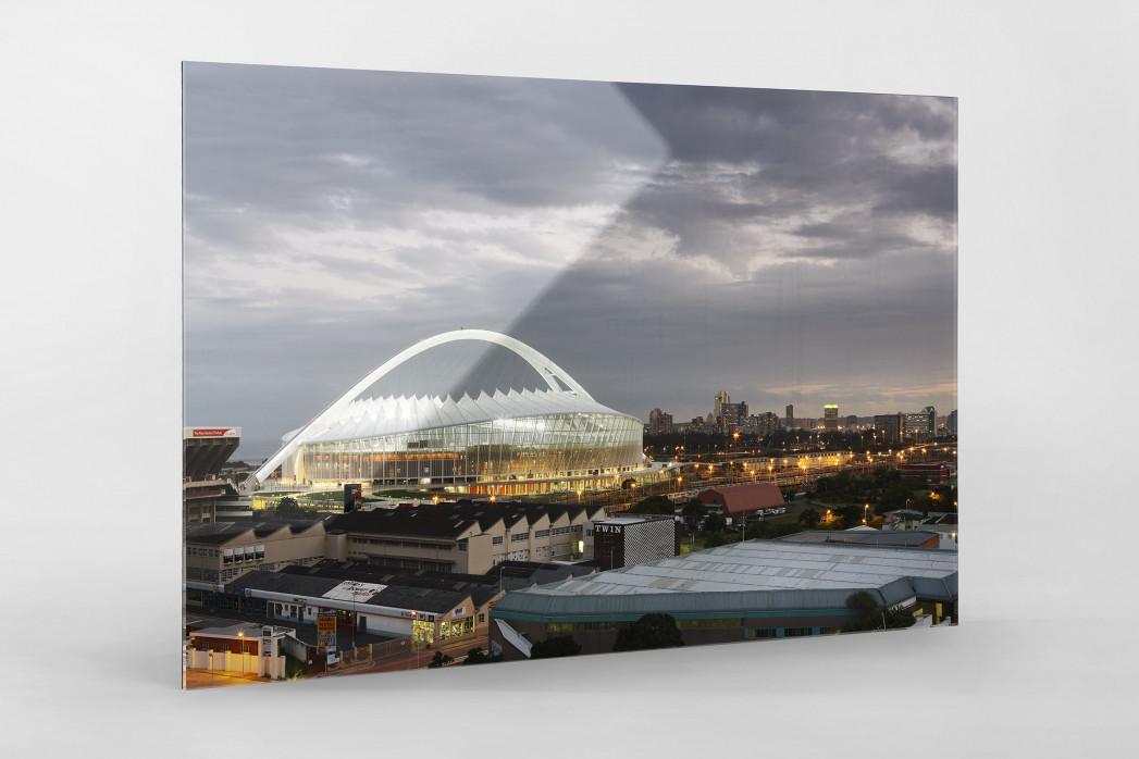 Moses-Mabhida-Stadion bei Dämmerung als Direktdruck auf Alu-Dibond hinter Acrylglas
