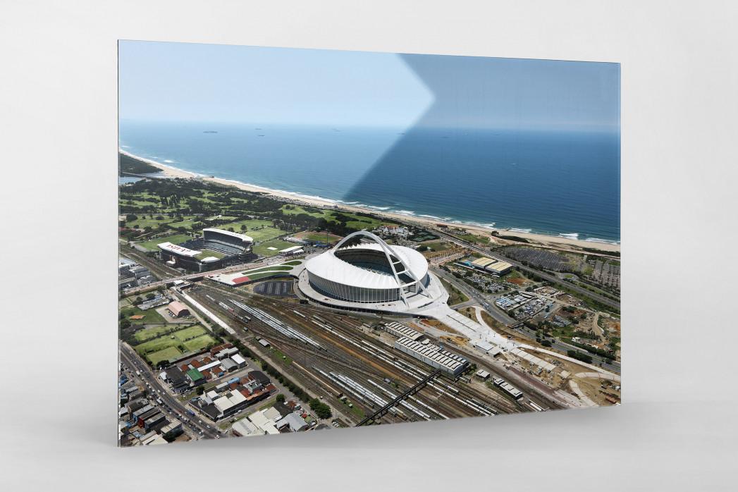 Moses-Mabhida-Stadion Vogelperspektive als Direktdruck auf Alu-Dibond hinter Acrylglas