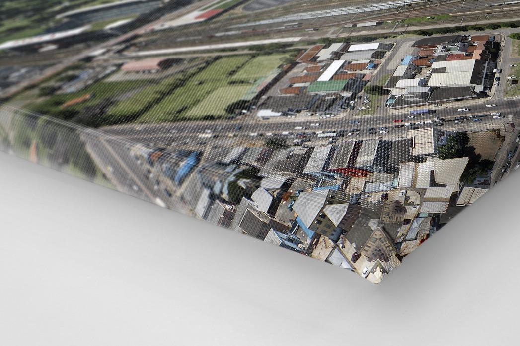 Moses-Mabhida-Stadion Vogelperspektive als Leinwand auf Keilrahmen gezogen (Detail)