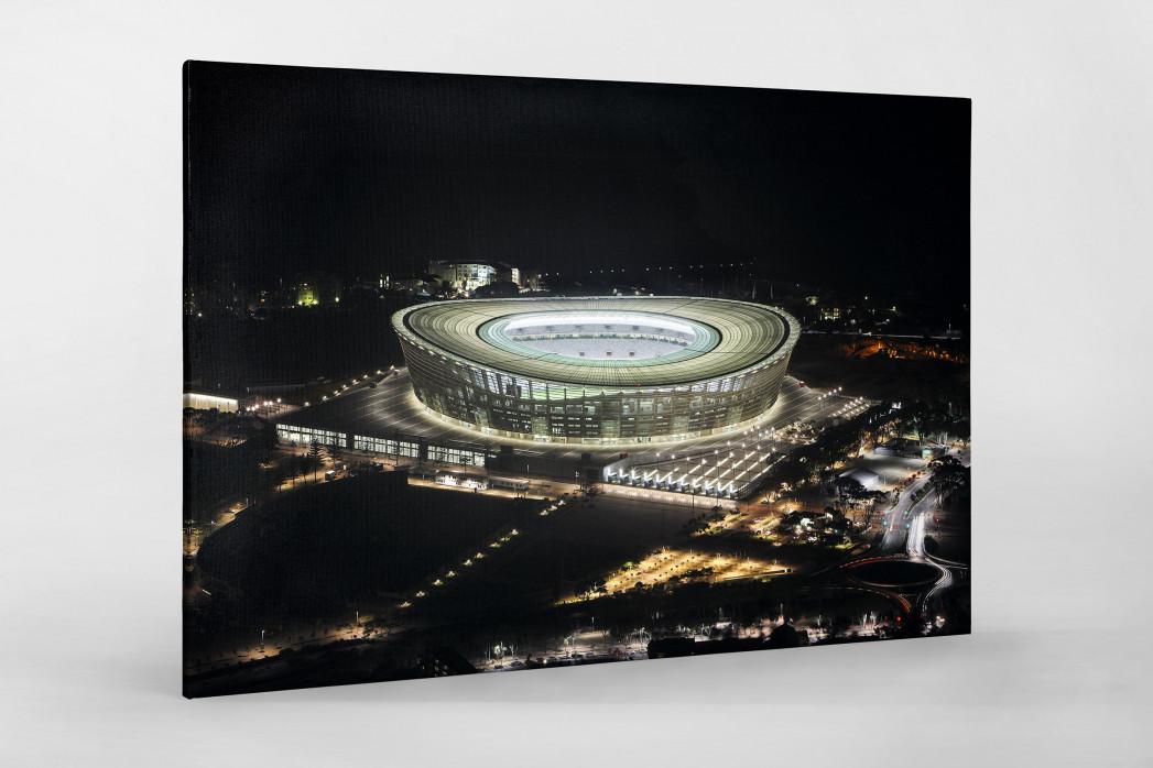 Cape Town Stadium bei Nacht als Leinwand auf Keilrahmen gezogen