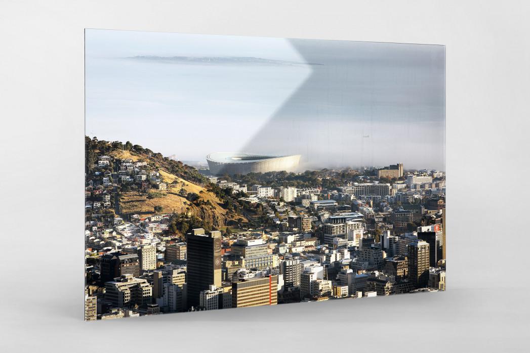 Cape Town Stadium mit Stadt und Meer als Direktdruck auf Alu-Dibond hinter Acrylglas