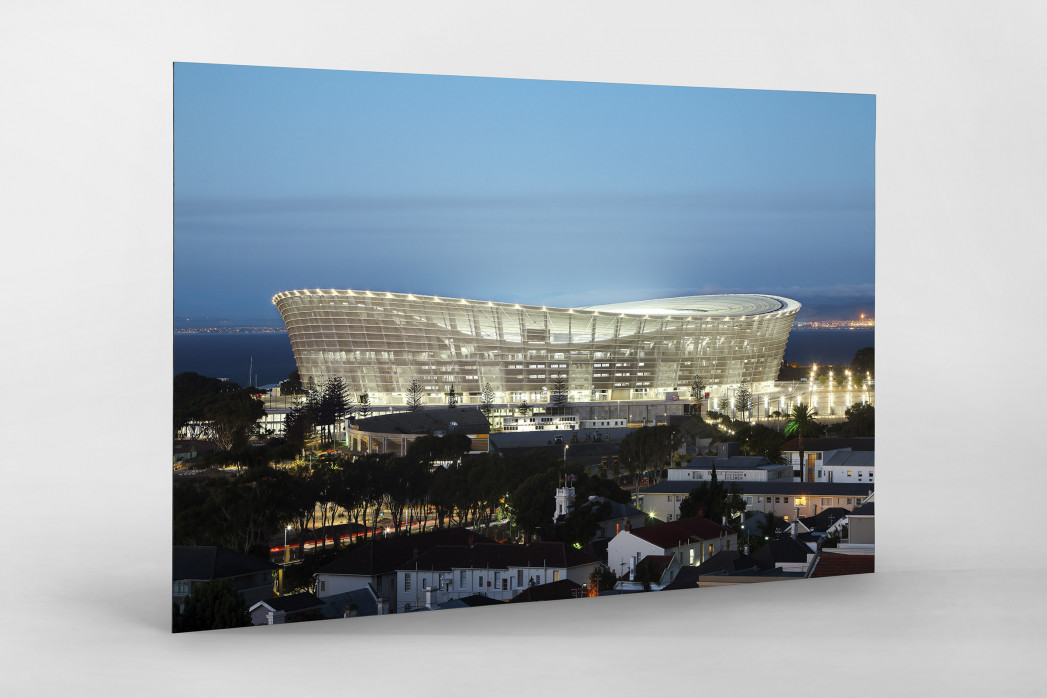 Cape Town Stadium erleuchtet als auf Alu-Dibond kaschierter Fotoabzug