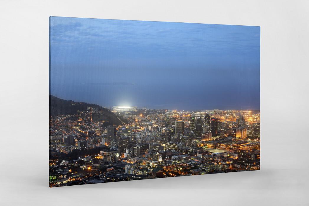 Cape Town Stadium und Skyline als Leinwand auf Keilrahmen gezogen