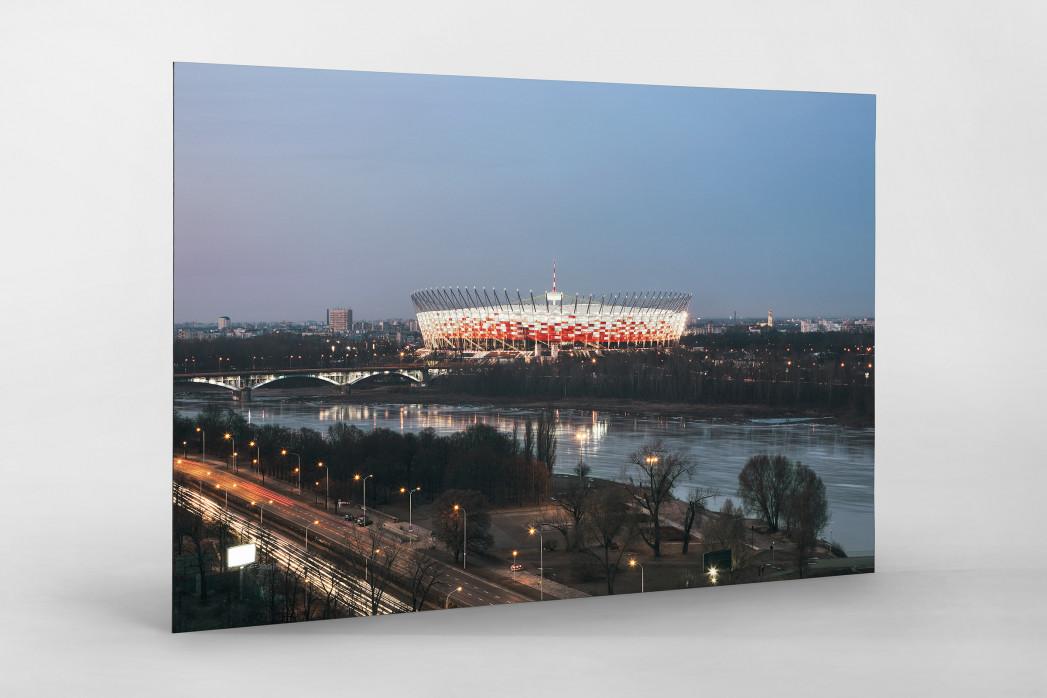 Nationalstadion Warschau am Abend als auf Alu-Dibond kaschierter Fotoabzug