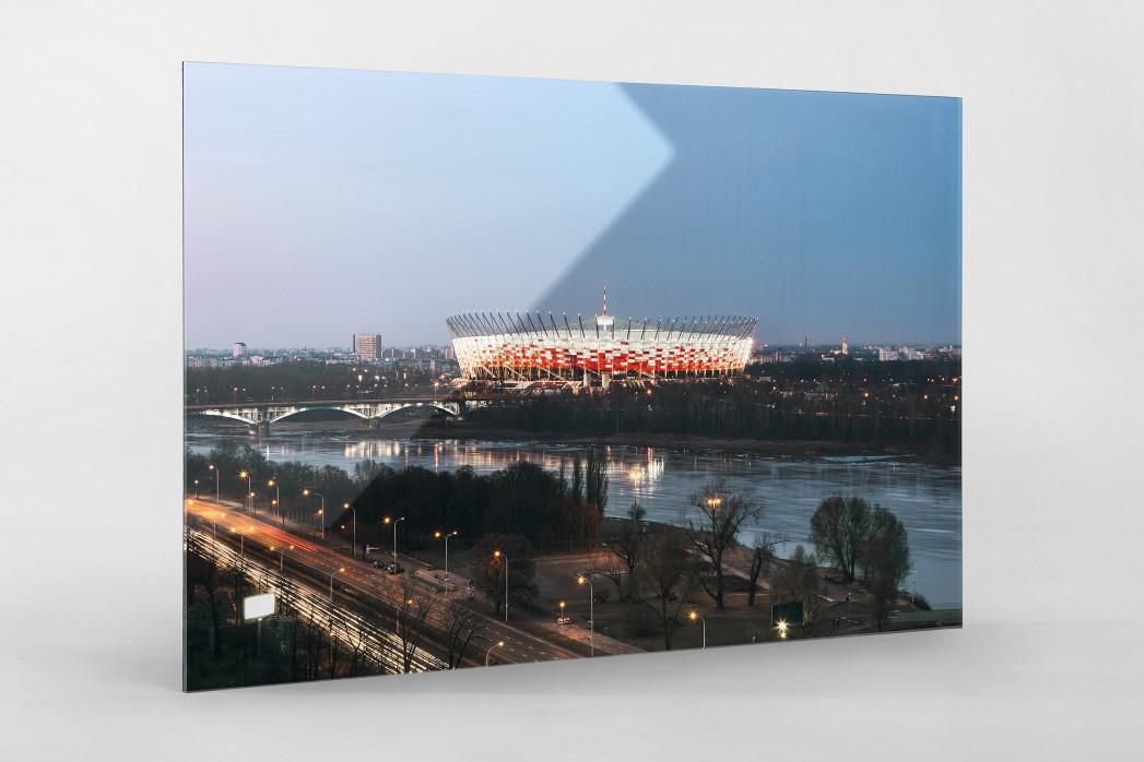 Nationalstadion Warschau am Abend als Direktdruck auf Alu-Dibond hinter Acrylglas