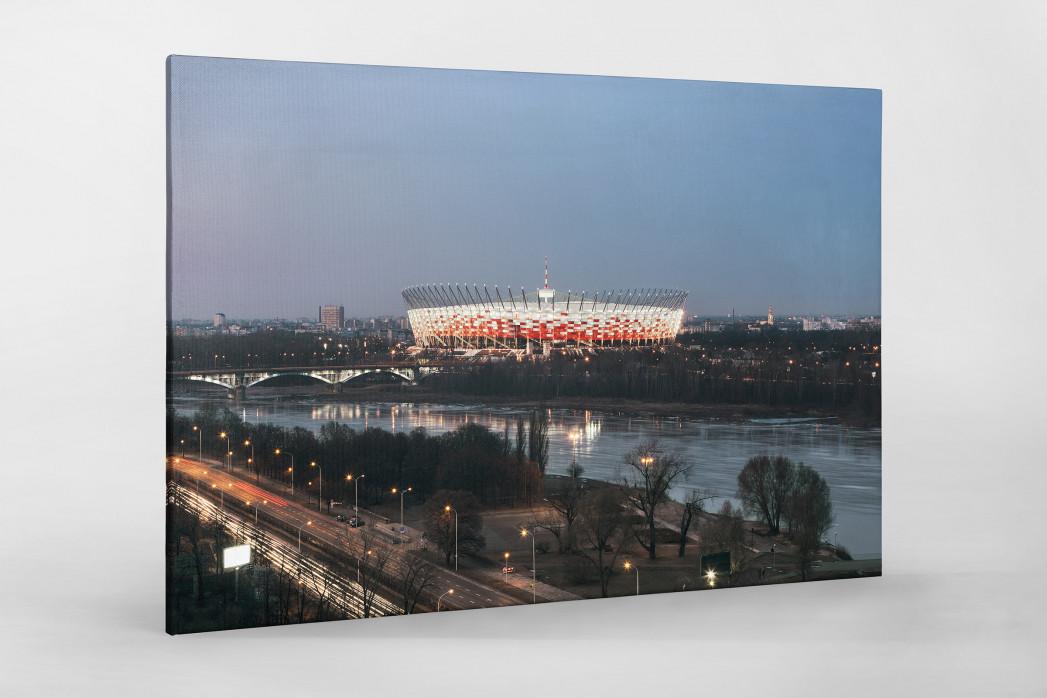 Nationalstadion Warschau am Abend als Leinwand auf Keilrahmen gezogen