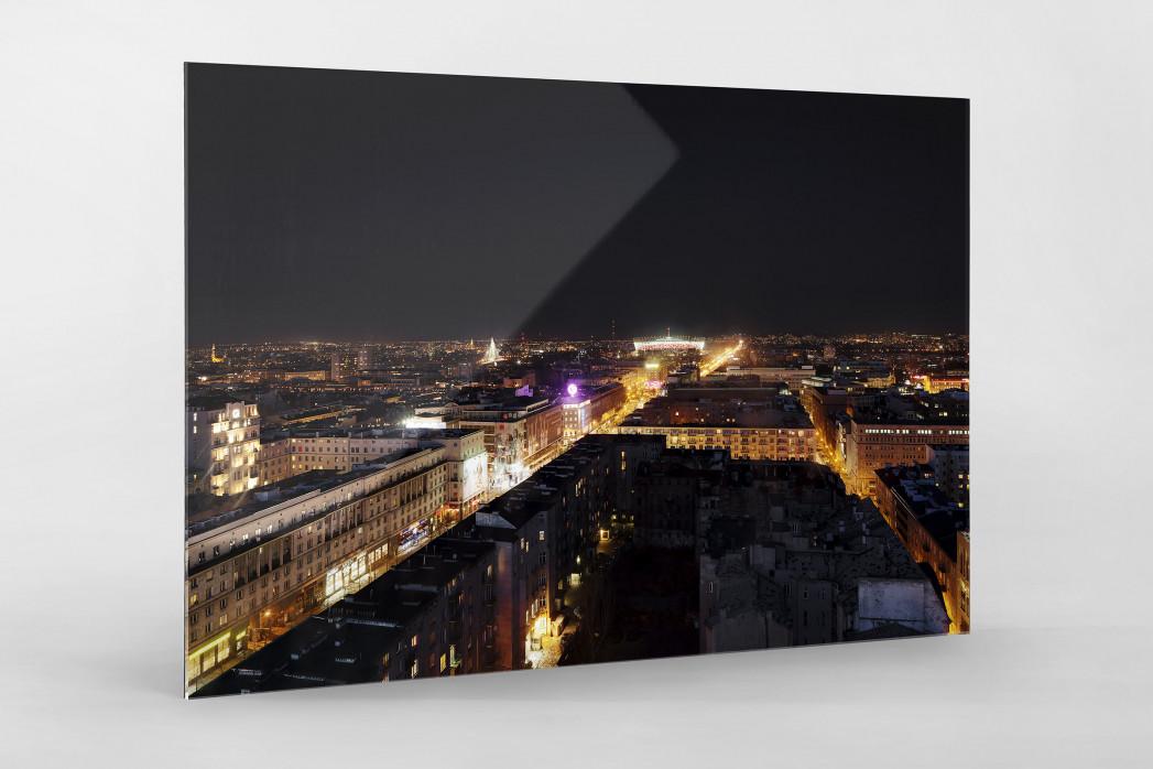Nationalstadion Warschau bei Nacht als Direktdruck auf Alu-Dibond hinter Acrylglas