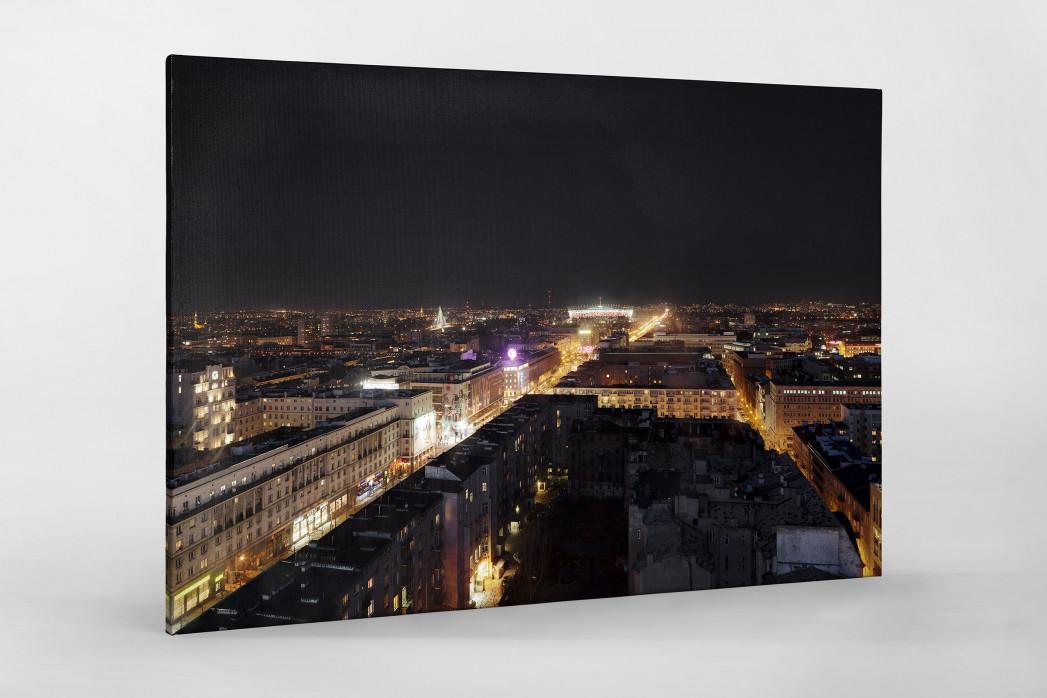 Nationalstadion Warschau bei Nacht als Leinwand auf Keilrahmen gezogen