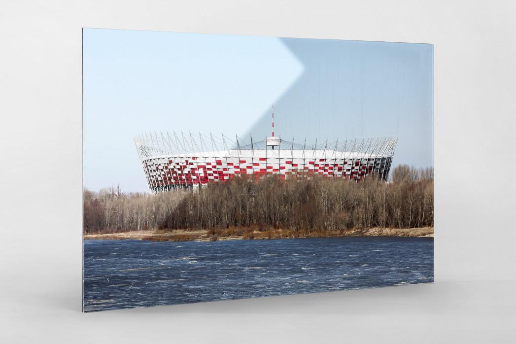 Vor dem Nationalstadion Warschau als Direktdruck auf Alu-Dibond hinter Acrylglas
