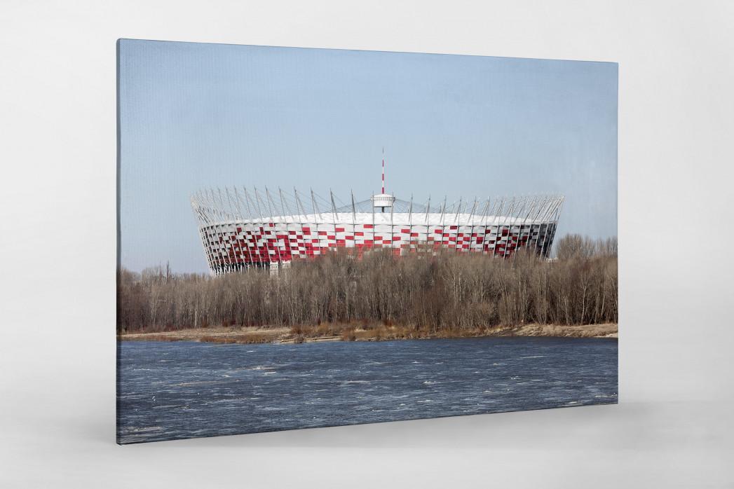 Vor dem Nationalstadion Warschau als Leinwand auf Keilrahmen gezogen