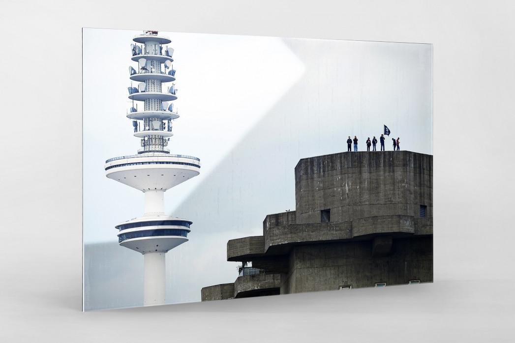St. Pauli Bunker als Direktdruck auf Alu-Dibond hinter Acrylglas