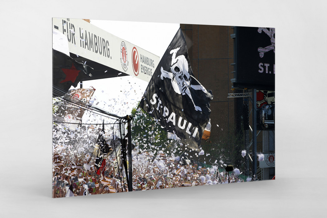 St. Pauli Fankurve als Direktdruck auf Alu-Dibond hinter Acrylglas