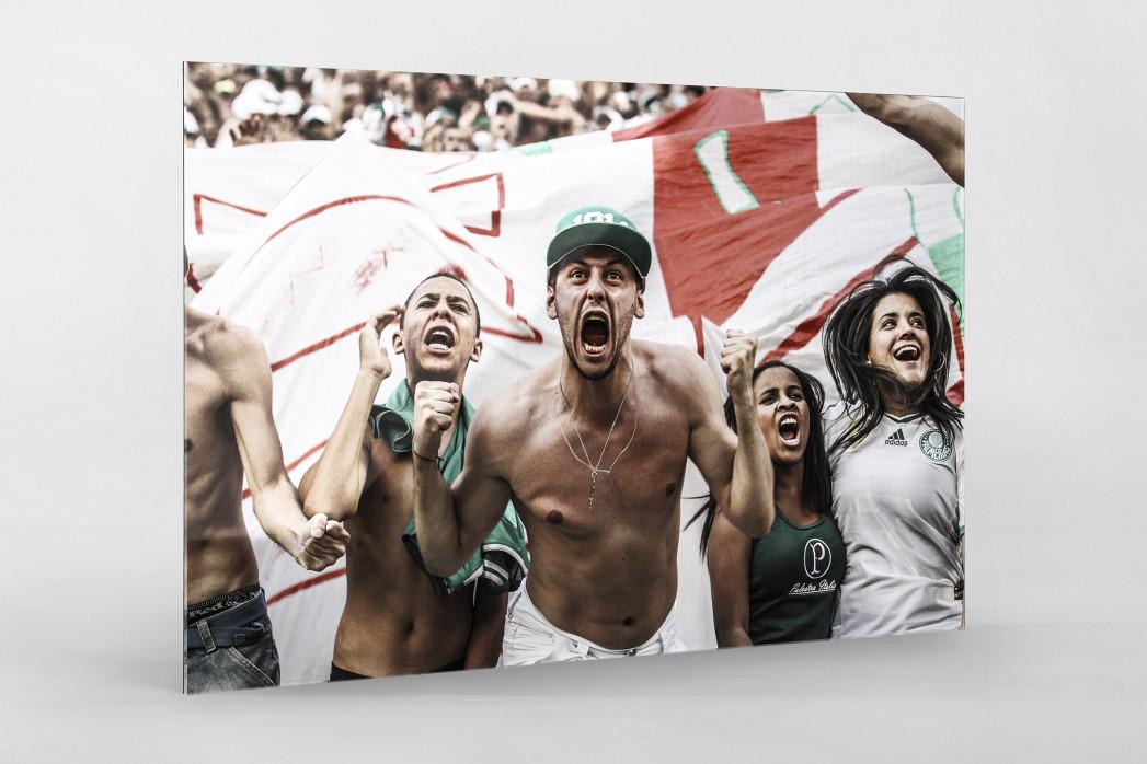 Palmeiras Fan Celebrating als Direktdruck auf Alu-Dibond hinter Acrylglas