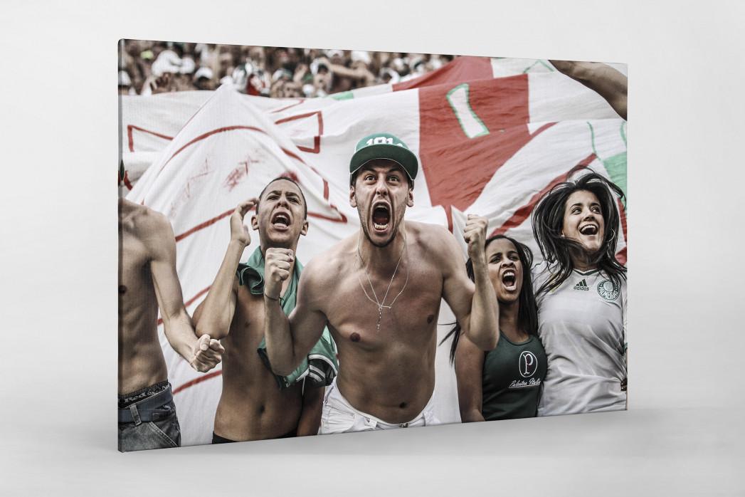 Palmeiras Fan Celebrating als Leinwand auf Keilrahmen gezogen
