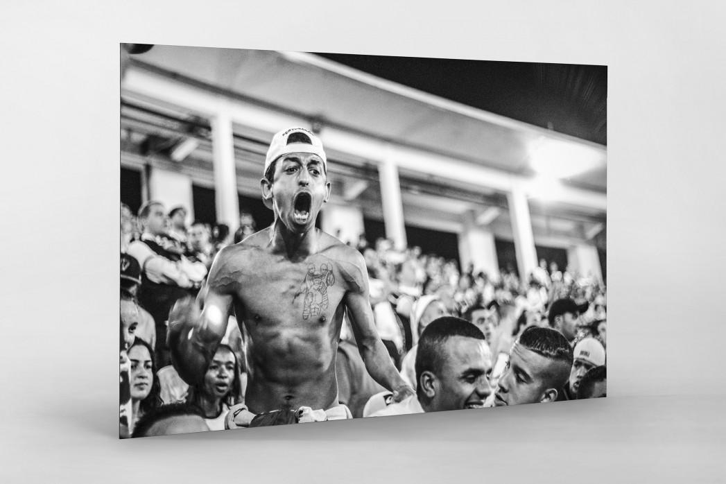 Corinthians Fan Screaming als auf Alu-Dibond kaschierter Fotoabzug