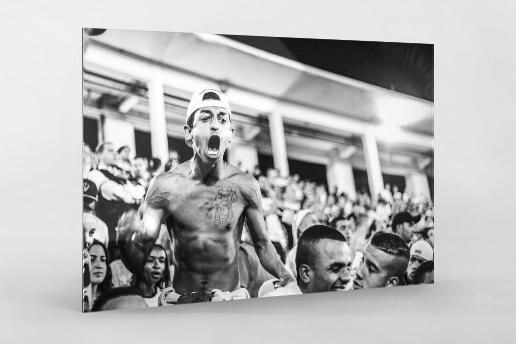 Corinthians Fan Screaming als Direktdruck auf Alu-Dibond hinter Acrylglas