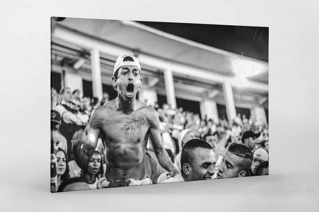Corinthians Fan Screaming als Leinwand auf Keilrahmen gezogen