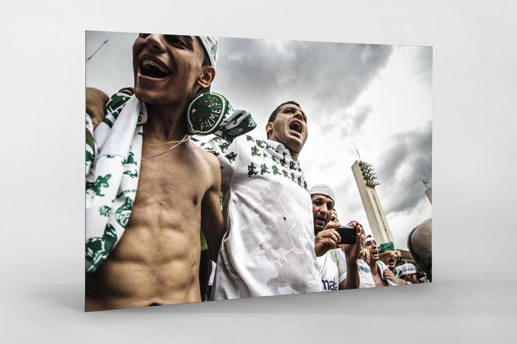 Palmeiras Fans In The Stand als auf Alu-Dibond kaschierter Fotoabzug