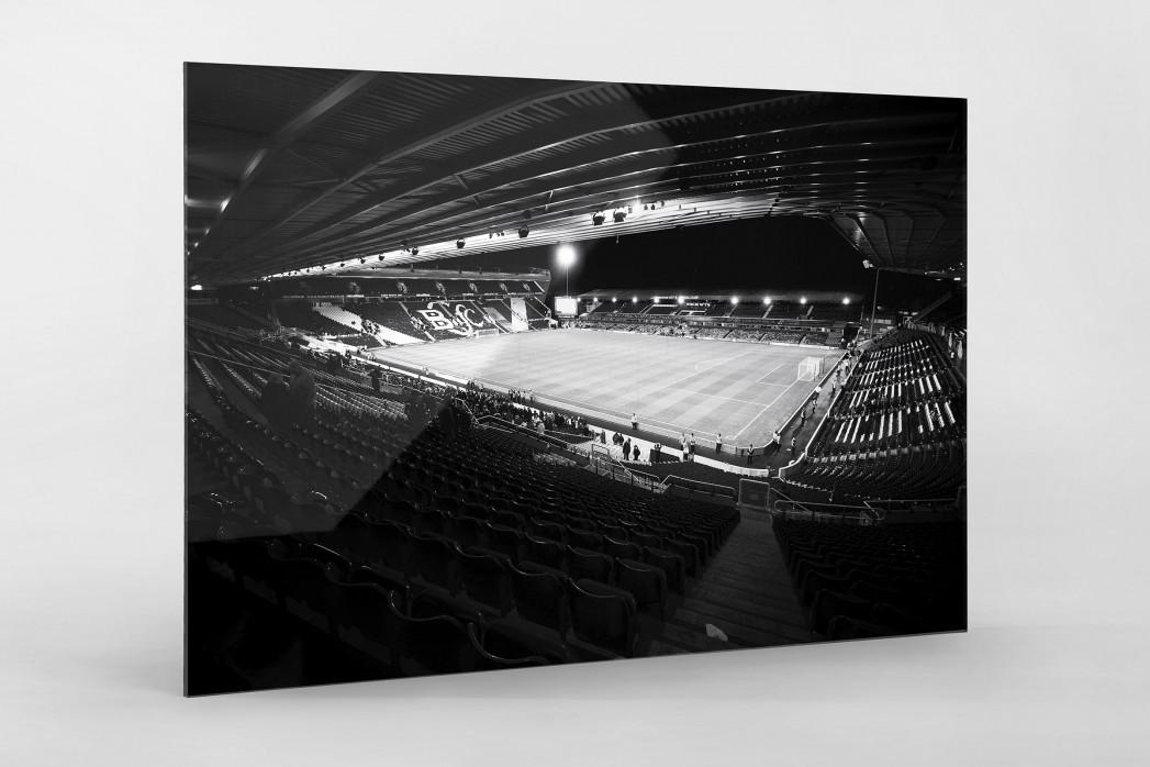 Blick in das St. Andrew's Stadium (s/w) als Direktdruck auf Alu-Dibond hinter Acrylglas
