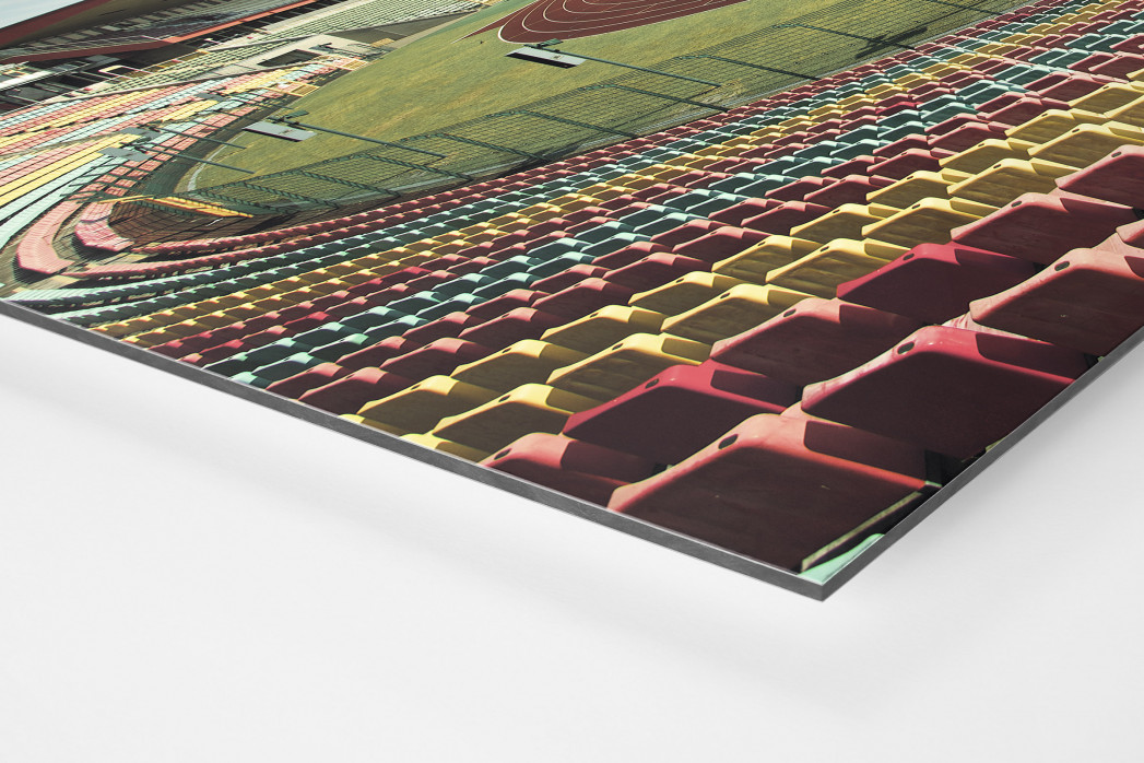 Blick in den Jahn-Sportpark als auf Alu-Dibond kaschierter Fotoabzug (Detail)