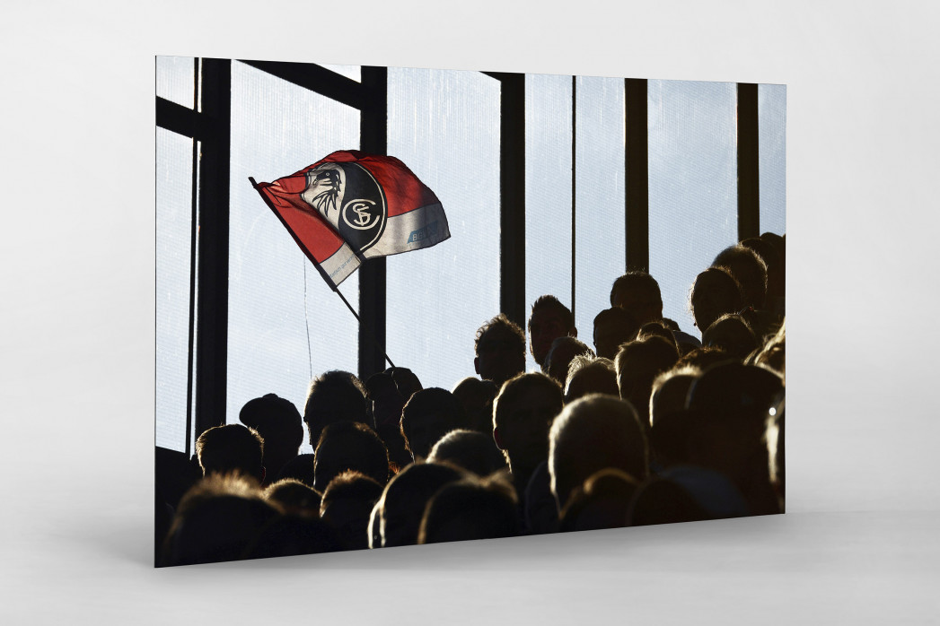 Freiburg Fahne als auf Alu-Dibond kaschierter Fotoabzug