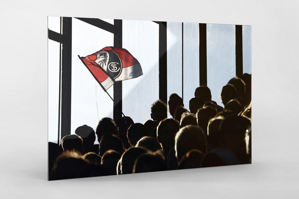 Freiburg Fahne als Direktdruck auf Alu-Dibond hinter Acrylglas
