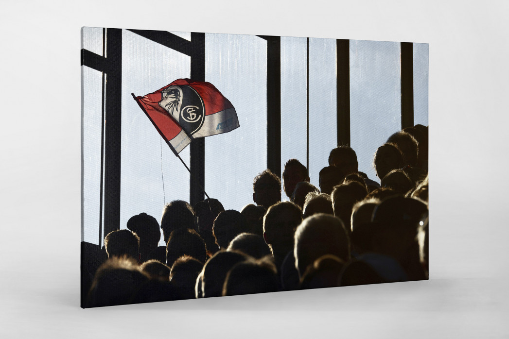 Freiburg Fahne als Leinwand auf Keilrahmen gezogen