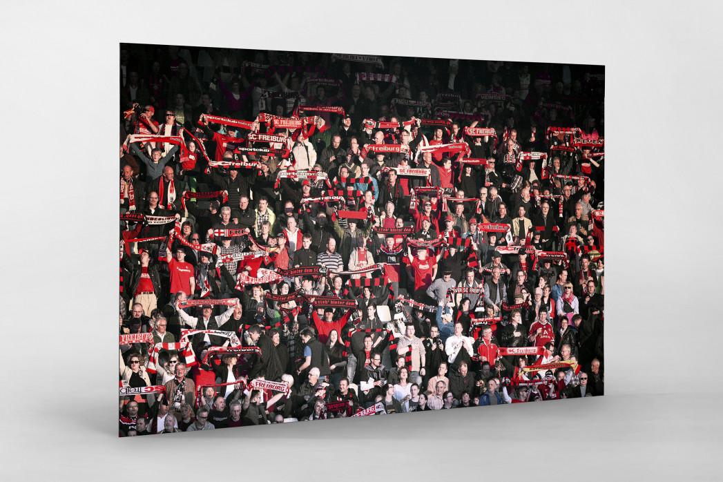 Freiburg Fans als auf Alu-Dibond kaschierter Fotoabzug