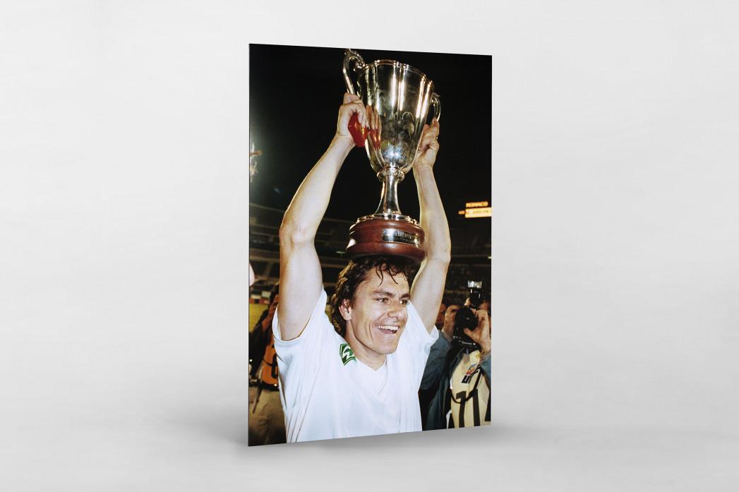 Kiwi und der Pokal als auf Alu-Dibond kaschierter Fotoabzug
