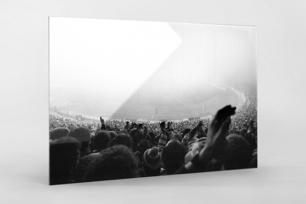 Nebel im Olympiastadion als Direktdruck auf Alu-Dibond hinter Acrylglas