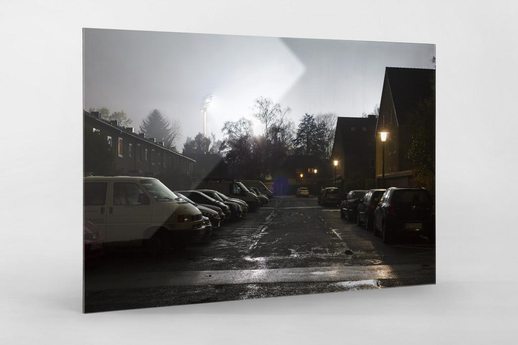 Grotenburg-Stadion bei Flutlicht als Direktdruck auf Alu-Dibond hinter Acrylglas
