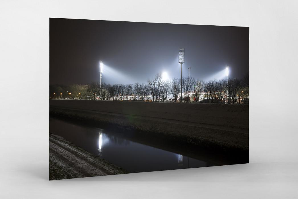 Niederrheinstadion bei Flutlicht (Farbe) als auf Alu-Dibond kaschierter Fotoabzug
