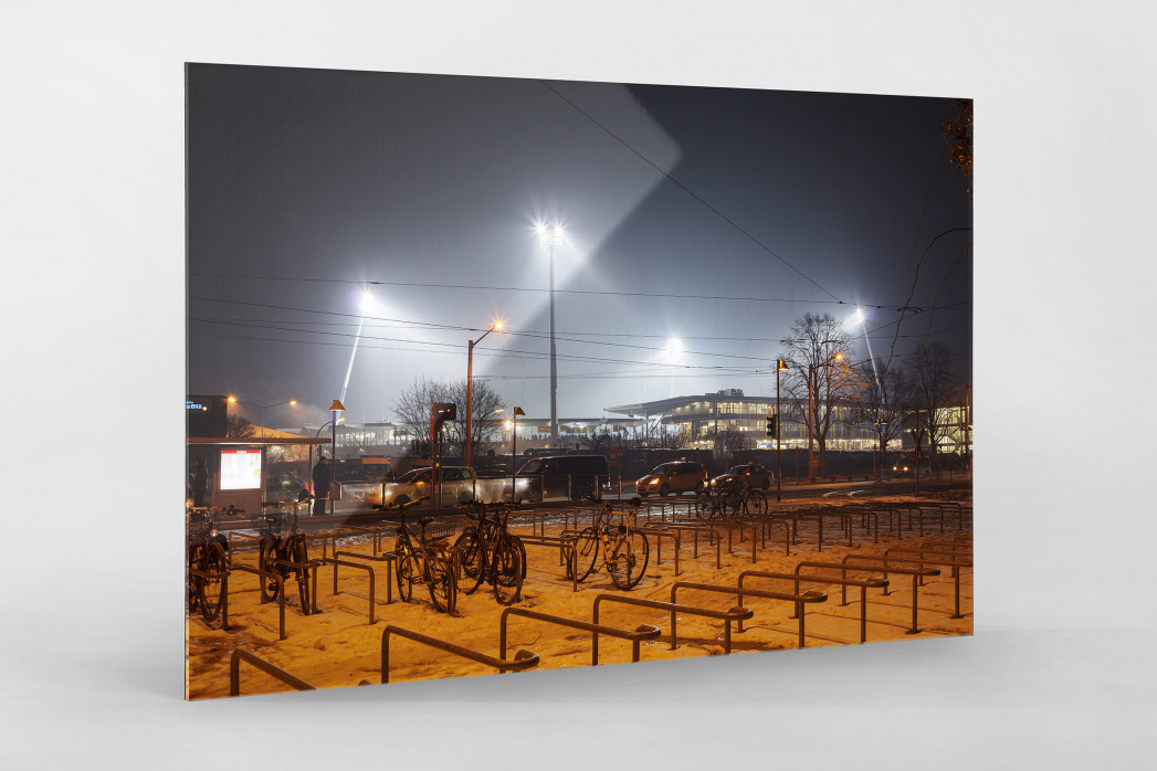 Eintracht Stadion bei Flutlicht als Direktdruck auf Alu-Dibond hinter Acrylglas