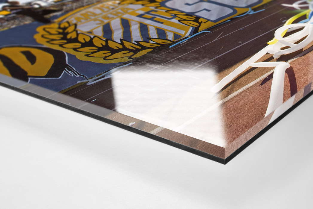 Jena Südkurve als Direktdruck auf Alu-Dibond hinter Acrylglas (Detail)