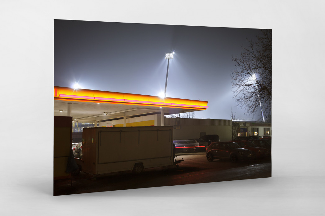 Tanke vor dem Eintracht Stadion als auf Alu-Dibond kaschierter Fotoabzug