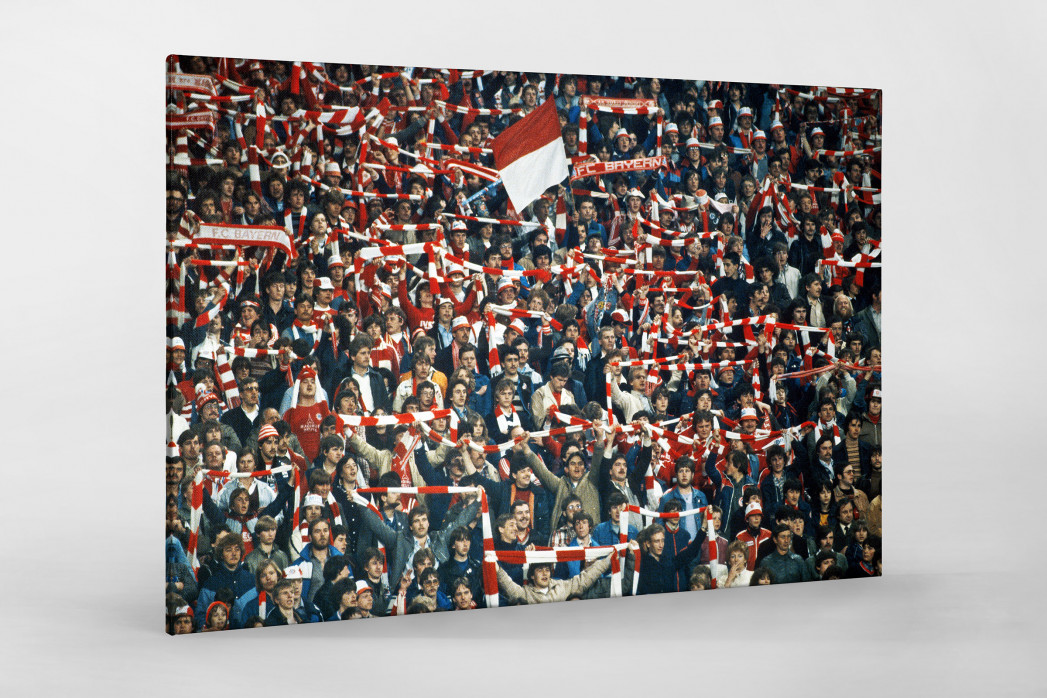 Bayern Fans 1982 als Leinwand auf Keilrahmen gezogen