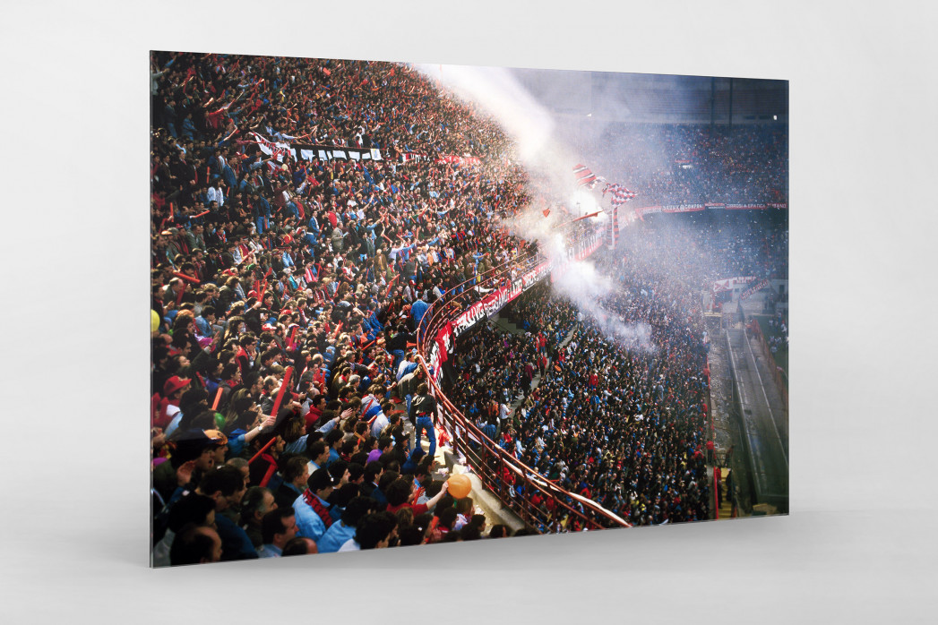 Fankurve im Giuseppe Meazza Stadion als Direktdruck auf Alu-Dibond hinter Acrylglas