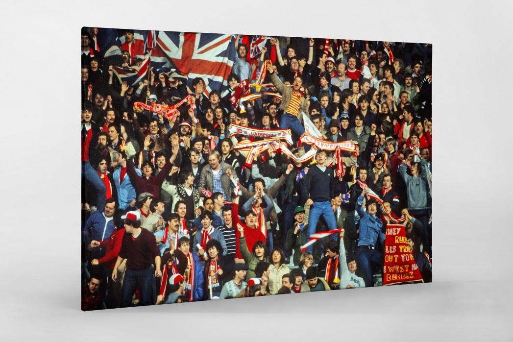 Liverpool Fans 1981 als Leinwand auf Keilrahmen gezogen