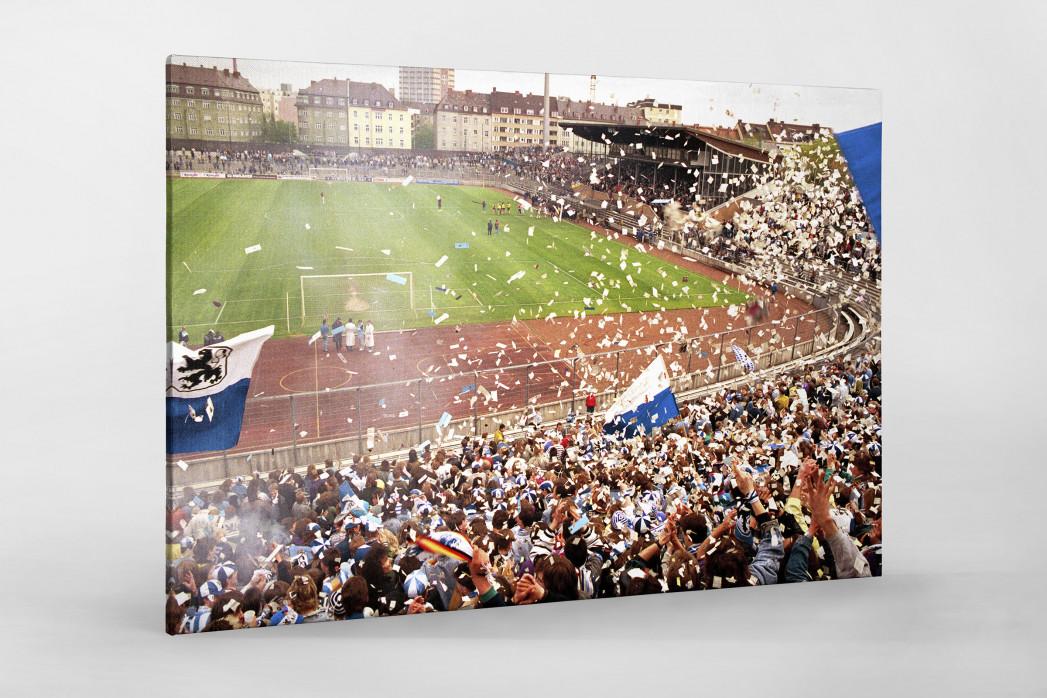 Stadion an der Grünwalder Straße (1990) als Leinwand auf Keilrahmen gezogen