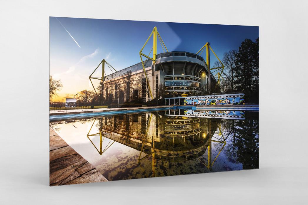 Blick auf den Signal Iduna Park (Farbe) als Direktdruck auf Alu-Dibond hinter Acrylglas