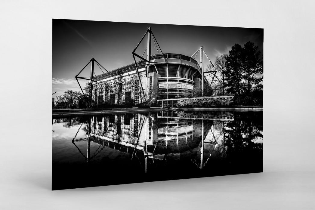 Blick auf den Signal Iduna Park (sw) als auf Alu-Dibond kaschierter Fotoabzug